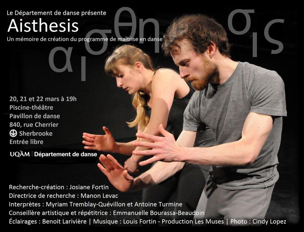 Aisthesis (2015)- Mémoire-création de Josiane Fortin - Affiche - Photo Cindy Lopez - Interprètes Myriam Tremblay-Quévillon et Antoine Turmine